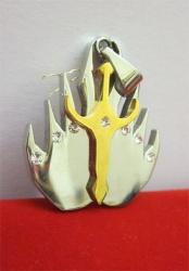 chirurgická ocel přívěšek - stříbro zlatý plamen