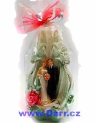 Ručně vyřezávaná svíčka svatební s prstýnky