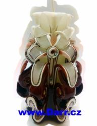 Ručně vyřezávaná svíčka - hnědá