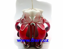 Ručně vyřezávaná svíčka - červená