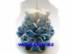 Ručně vyřezávaná svíčka - modrá