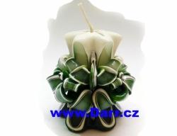 Ručně vyřezávaná svíčka - zelená