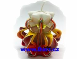 Ručně vyřezávaná svíčka - červeno žlutá