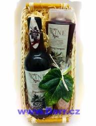 Dárkový koš Vinná kosmetika - červená